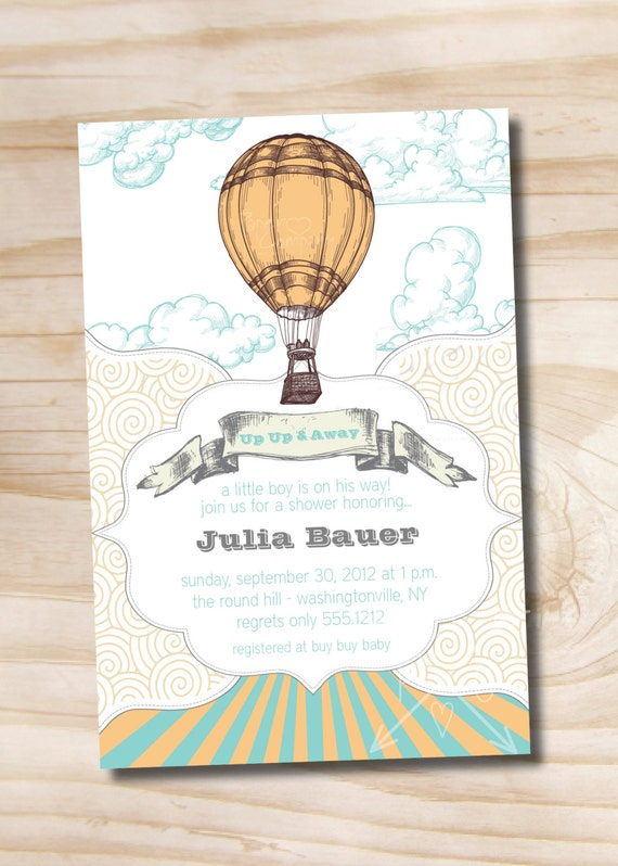 UP UP and AWAY Away We Go Baby Shower Invitation - Printable Digital file or Printed Invitations
