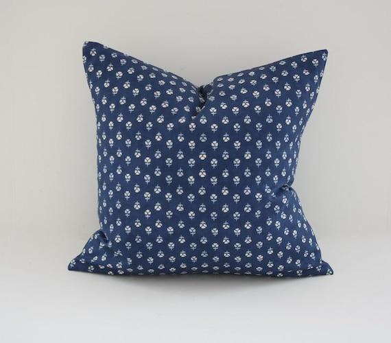 """Handmade Navy Ralph Lauren Floral Pillow Cover - 16""""x16"""""""