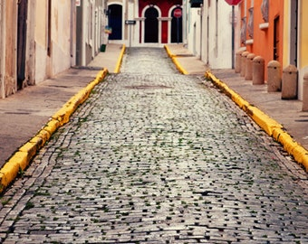 Puerto Rico Photo - Fine Art Photography - Brick Streets, Old San Juan, Puerto Rico, San Juan, Puerto Rican, wall art, photo, print, decor