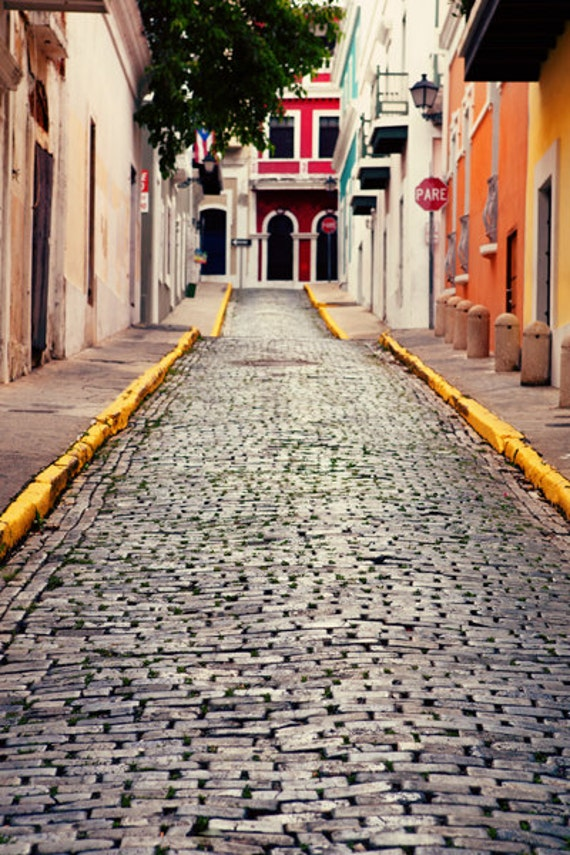 Old San Juan Wall Decor : Puerto rico photo fine art photography brick streets old