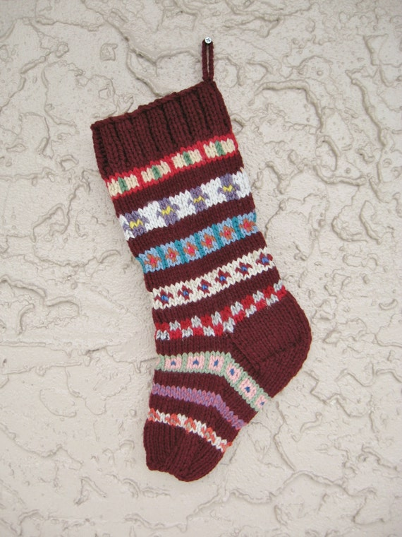 Hand knit Christmas stocking in burgundy with FREE U.S. SHIPPING
