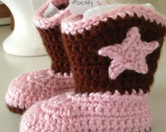 Baby cowboy booties crochet. Made to order