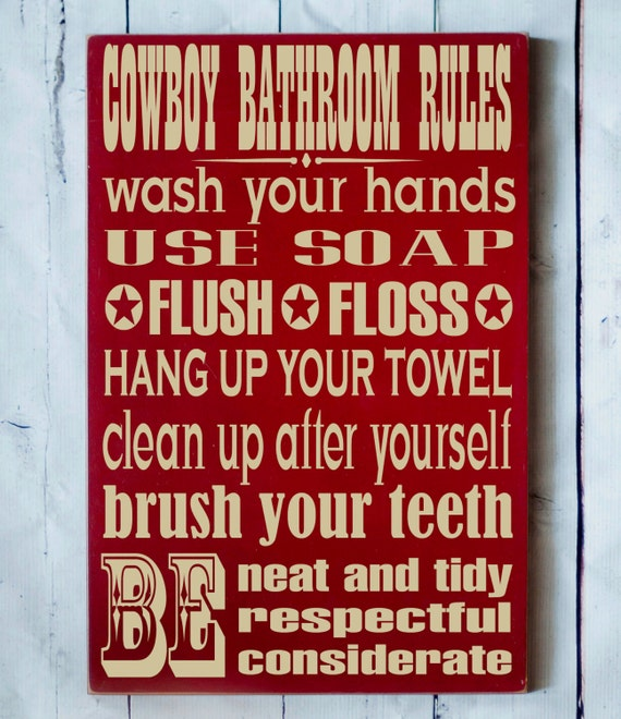 Cowboy Bathroom Rules Western Home Decor By Vinylcrafts On Etsy