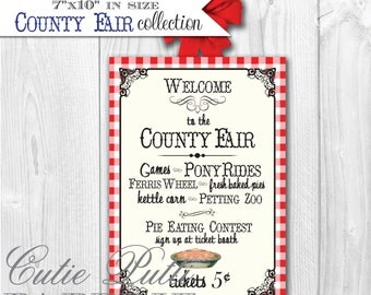 County Fair Party State Fair Party Country Fair Party - PRINTABLE WELCOME SIGN - Cutie Putti Paperie