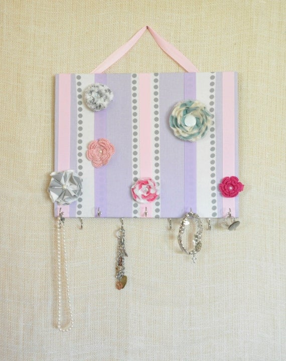JEWELRY ORGANIZER, Jewelry Bow Board- Hair Bow Organizer- Pink and Purple Dot - 11x14 inches, 11 Large Hooks