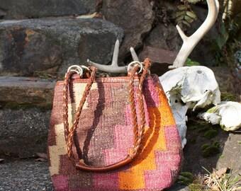 80's Kilim Carpet Bag  Drawstring Cinch Top Purse