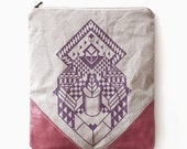 Geometrical Illusion Printed  Leather Pouch dusty purple No. ZPB-103