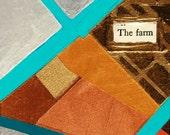 The Farm, mixed-media/acrylic on canvas, map art