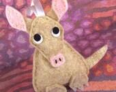Felt Zoo Animal, Handmade Christmas Decoration, Plush Ornament - Nigel the Aardvark