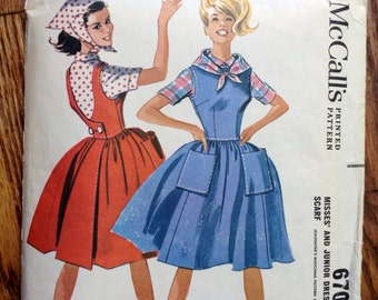 Vintage McCall's 6705 Mother Daughter Back Wrap Dress, Blouse, and Scarf Sewing Pattern 32 Inch Bust