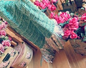 Afghan Throw Blanket in Mint Green, Rose Pink, Lilac Purple, White, Ivory Cream Bedroom Housewares
