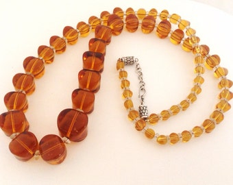 "Vintage Graduated Amber Glass Beads 28"" Necklace - Sterling Silver Clasp - original vintage beads - ginger rootbeer - honey - heavy"