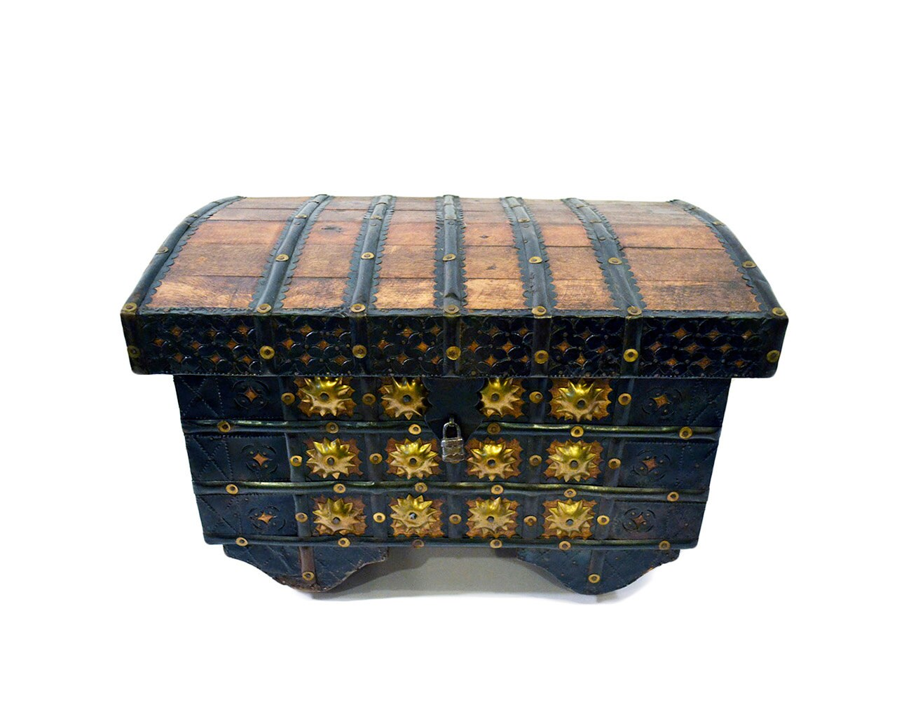 Wooden Hope Chest ~ Antique small wooden trunk with wheels handmade hope chest