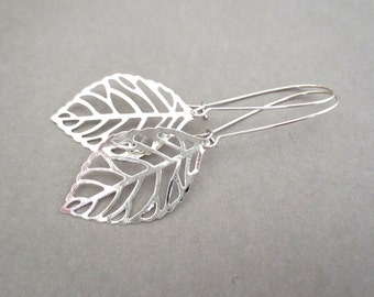 Leaves Platinum Silver Kidney Wire Earrings
