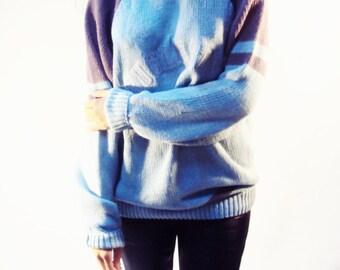 Varsity Sweater Top Cotton and Ramie vintage 90s Boyfriend S, M, L Oversize