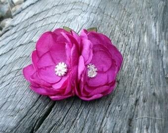 Handmade Berry Purple Vintage Style Fabric Hair Flower Clip
