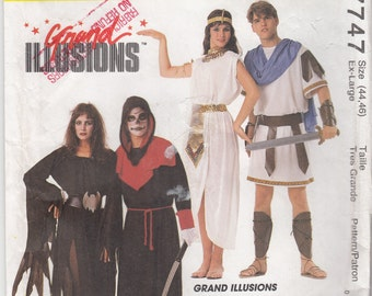 """Adult Costume Sewing Pattern UNCUT EASY Couple Costumes Marc Anthony, Cleopatra, Allura, Skulltar -  Bust 44""""-46' (112-117 cm) - Mc 7747 - S"""