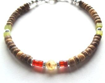 Mens Bracelet, Surfer Bracelet, Semi Precious Stone Jewelry, Gemstone Bracelet, Beaded Bracelet, Boho Jewelry, Carnelian Bracelet, Bohemian