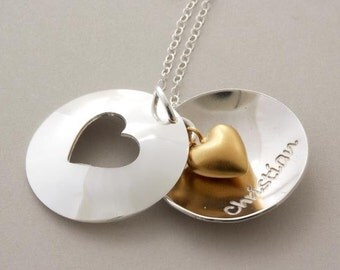 Love gift, Anniversary .. Heart cutout necklace 24k/sterling silver custom engraved Handmade Jewelry .. Perfect Gift for Girlfriend, Wedding