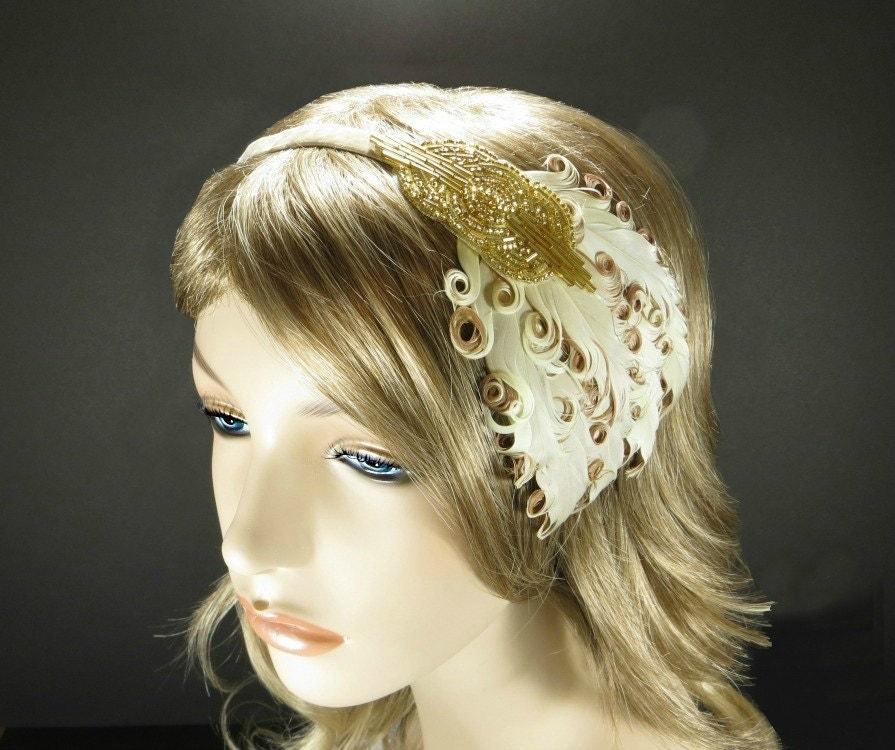 1920s Hair Accessories Art Deco Headband Gold Beaded Cream