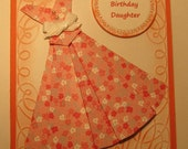 Pretty Birthday Card for Daughter, Coral and White Flowers, Embossed Background