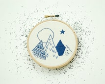 """Mountains At Dusk. Hand Embroidered Mountains. Hand Stitched Mountain Embroidery. 4"""" Embroidery Hoop Art Mountain Landscape Art HOOPLASTITCH"""