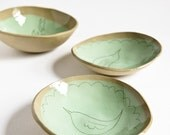 25 % OFF, pet food bowls, set of 3, ceramic bowls for cats and small dogs. pastel green and beige. karoArt, made in Ireland