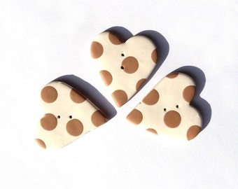 Large heart buttons, Valentine buttons, cream coffee - set of 3 - ecru ivory off-white coffee brown polka dots,  handmade, boutons coeurs