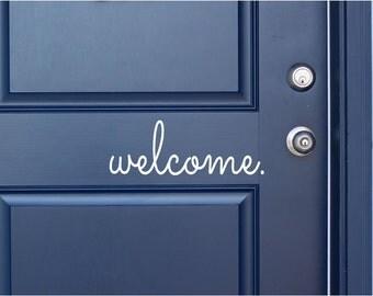Welcome Vinyl Door Decal - Front Door Welcome Decal, Home Office Decor, Custom Vinyl Welcome Decals, Welcome Decal, The Vinyl Company, 14x5