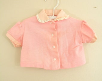 Vintage 1960s Baby Shirt / Pink / Blouse / Button Down Shirt / 16-20 lbs.