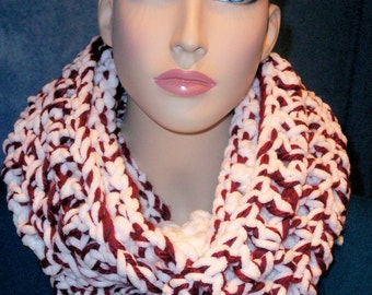 Burgundy Crochet Infinity Scarf White Chenille Fluffy Plush Soft Chunky Infinity Bulky Circle Figure 8 Eternity Loop Circle Scarf