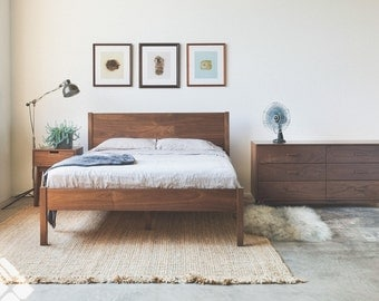 solid walnut berkeley bed frame and headboard available in other woods - Walnut Bed Frame