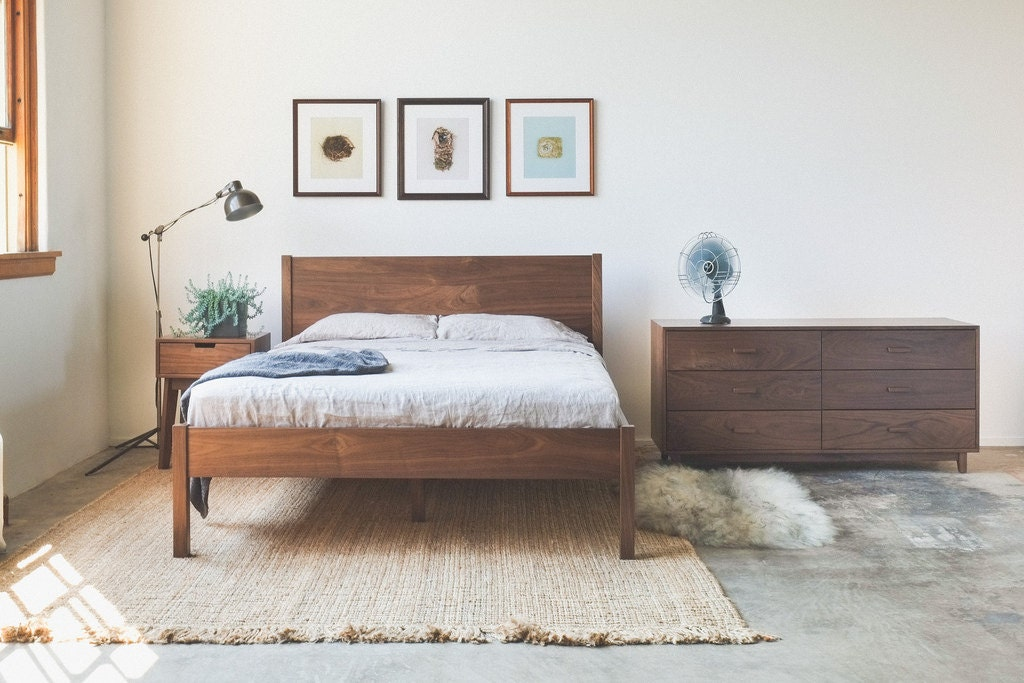 Solid Walnut Berkeley Bed Frame and Headboard by HedgeHouse