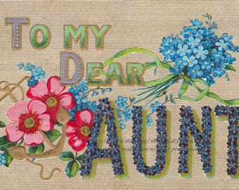 Aunt Greeting Card - To Dear Aunt Large Words - Vintage Style