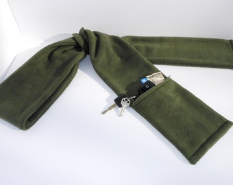 Zipper Pocket Fleece Scarf for Men and Women in Rifle Green with or without fringe