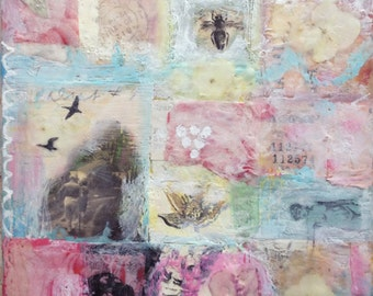 "Encaustic Mixed Media Art - ""Captured Spring""  Encaustic Painting with Real Flowers, Spring Art by Angela Petsis"
