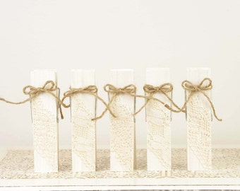 Ivory Wood Clothespins Table Number Holders with Vintage Lace and Twine - Set of 5