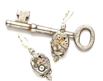 VICTORIAN Steampunk Earrings Steampunk Watch Dangle Earrings Antique Silver Steampunk Wedding Bride Steampunk Jewelry VictorianCuriosities