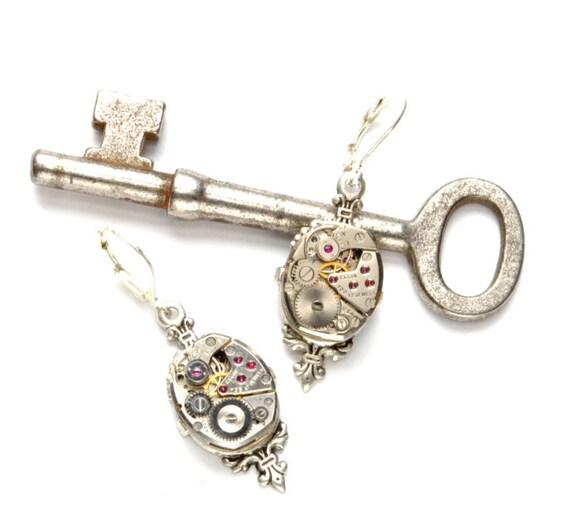 VICTORIAN Steampunk Earrings Steampunk Watch Dangle Earrings Antique Silver Steampunk Wedding Bride Steampunk Jewelry VictorianCuriosities