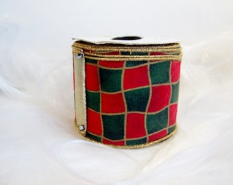 Vintage Cloth Christmas Ribbon Roll Designer Elite 3 inches Wide 10 Yards Santa's Square Red & Green With Gold Lame Back