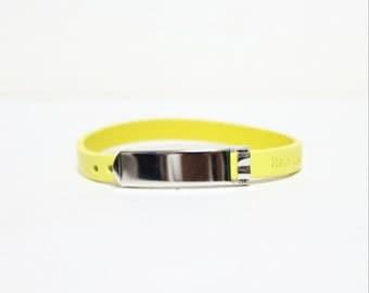 Single Wrap Minimal Leather Bracelet(YELLOW)