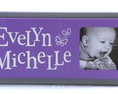 Purple and Gray Butterfly Nursery Wall Art, Personalized Baby Picture Frames, Baby Girl Nursery Decor Photo Frame Custom Order Name Signs
