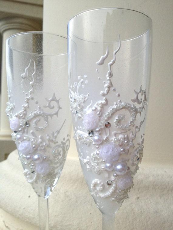Hand Decorated Wedding Champagne Glasses Classic Elegant