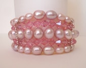 Pink pearl crystal bracelet, layered five strand wide bracelet, Austrian crystal, freshwater pearls, SMALL FIT pink bridal pearl jewelry