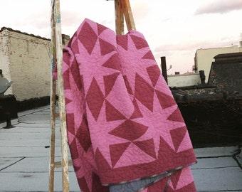 Twin quilt: Ledford quilt | pink purple star modern quilt