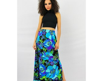 1960's fashion / Vintage MR DINO neon psychedelic floral maxi skirt  / Bold and bright S