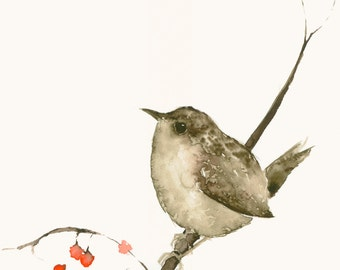 Bird Watercolor Artwork Fine Art Print Wren and Berries