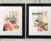 Beauty is Not in the Face, Beauty is a Light in the Heart - Set of Two 8x10 Collage Art Typography Prints