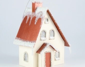 Christmas Village Paper House Ornament - Tudor Revival