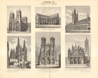 1893 Gothic Architecture, 13th and 14th Century Antique Engraving to Frame